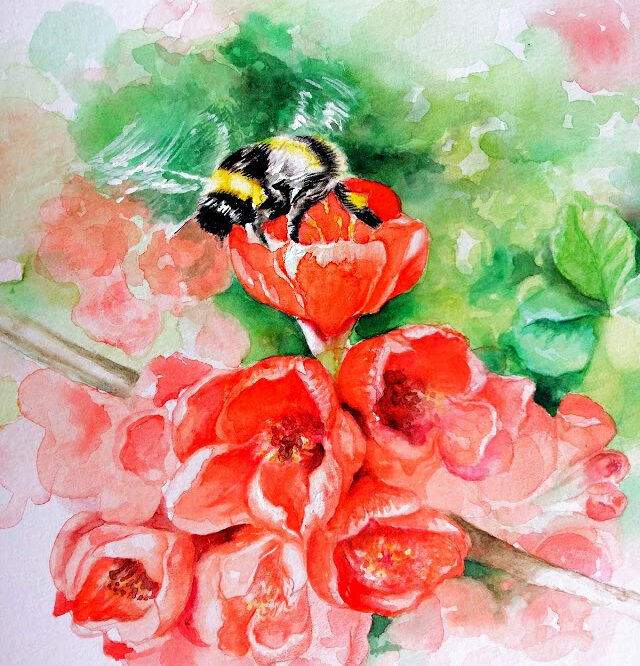 Aquarelle bumblebee and flowers