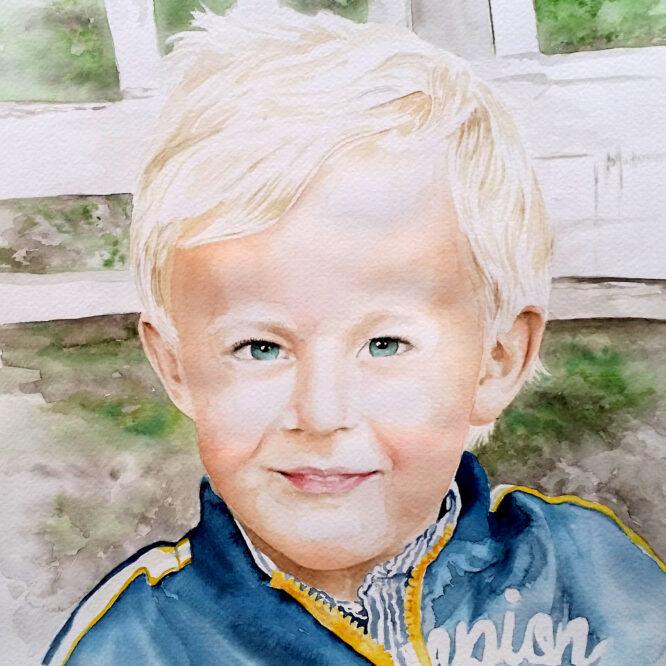 akvarellporträtt pojke
