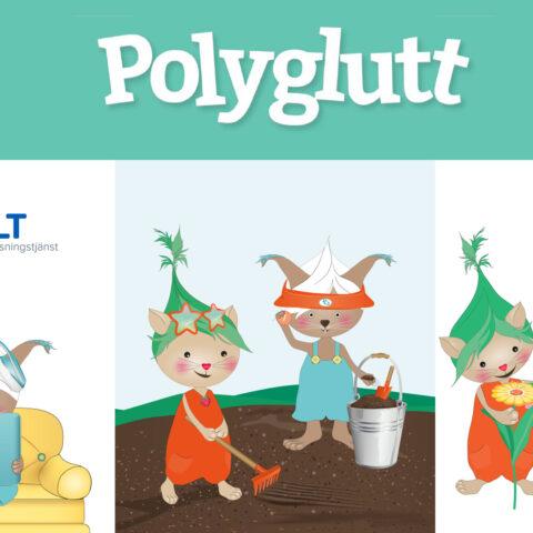 Polyglutt inläsningstjänst_concept illustration and branding