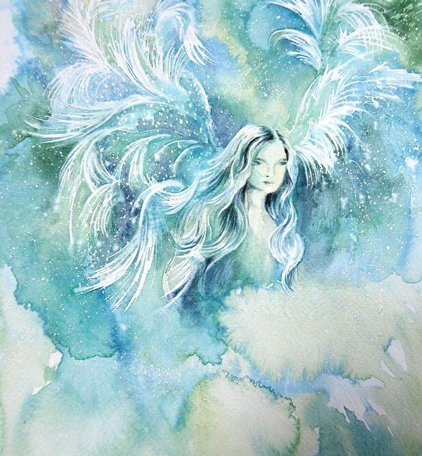 Aquarelle fantasy elf with wings