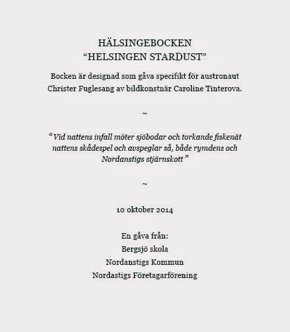 Hälsingebocken Stardust made for Christer Fuglesang