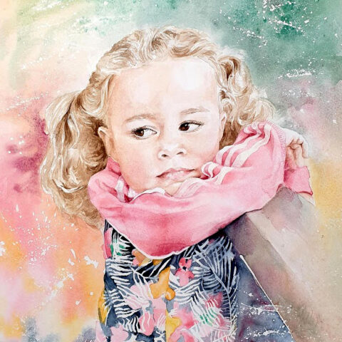 Akvarellporträtt-Signe